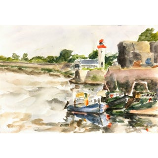 French Watercolor - Lighthouse and Fishing Boats For Sale