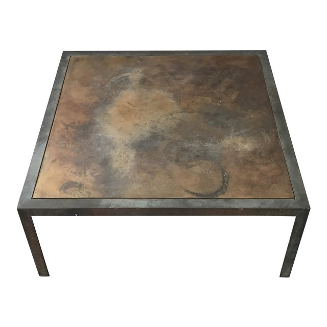 Welded Steel Bronze Top Coffee Table Chairish - Welded coffee table
