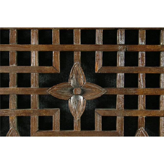 Antique Chinese Geometric Carved Window Screen - Image 3 of 7