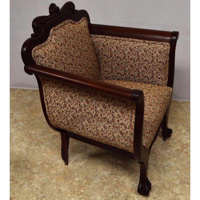 Antique Mahogany 3pc Parlor Set : Settee , Arm Chair , Chair For Sale - Image 9 of 11