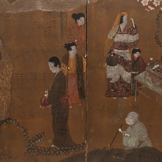 1920s C. 1920s Japanese Market Scene Gold Leaf Byobu Screen For Sale - Image 5 of 13