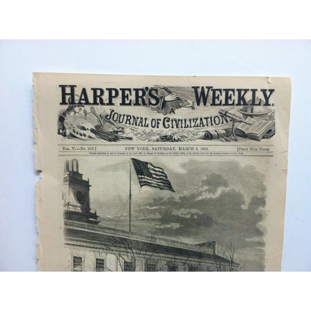 """This is an Antique Harper's Weekly Print that is titled """"President Lincoln hoisting the American Flag with Thirty-Four..."""