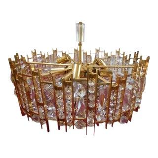 Lightolier Lobmeyr Gilt Brass and Crystal Chandelier