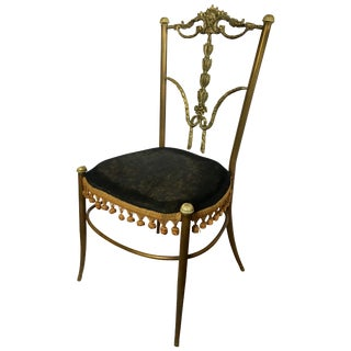 Midcentury Bronze Metal Draped Accent Chair, Italy For Sale