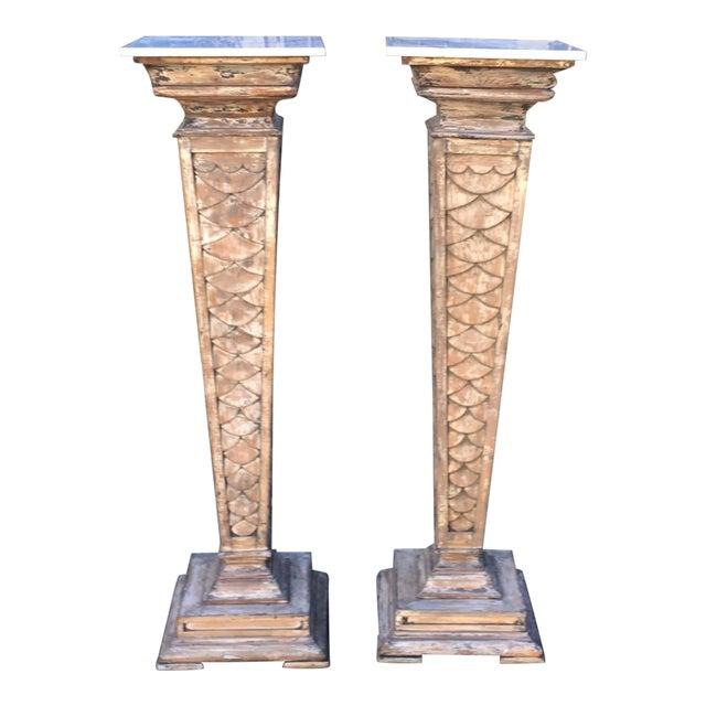 "66"" Antique Monumental Marble Top Pedestals - a Pair For Sale"
