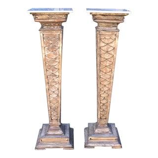 Antique Monumental Marble Top Pedestals - a Pair