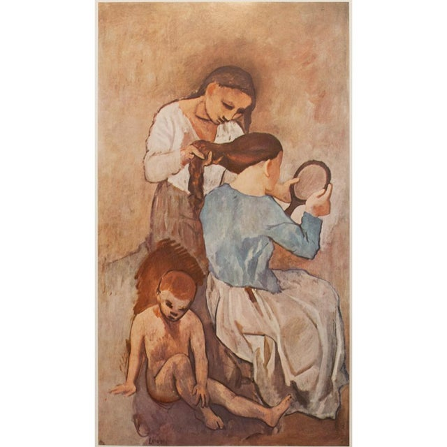 A lovely tipped-in original lithograph after oil painting La Coiffure (The Hairstyle, painted about 1905) by Pablo Picasso...