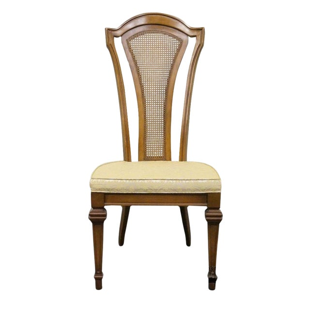 Late 20th Century Antique Furniture Makers Italian Style Cane Back Dining  Side Chair For Sale - Late 20th Century Antique Furniture Makers Italian Style Cane Back