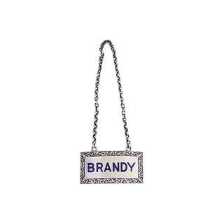 Sterling Enameled Brandy Decanter Label For Sale