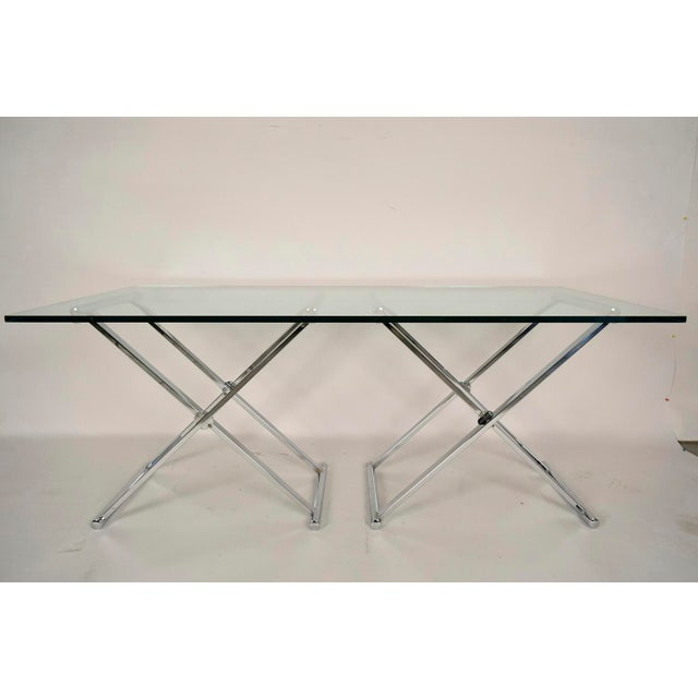 Mid-Century Modern Chrome and Glass Console Table - Image 2 of 6