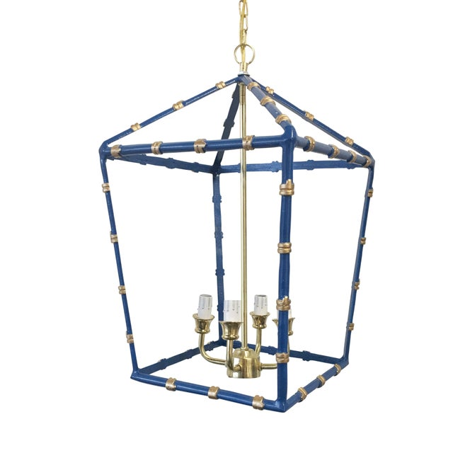 Dana Gibson Large,Dana Gibson Navy Bamboo Lantern For Sale - Image 4 of 4