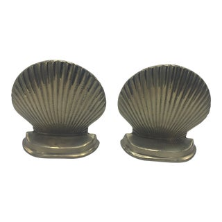 Brass Shell Motif Bookends - A Pair For Sale