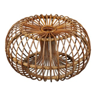 A Single Sculptural Italian Rattan Ottoman in the Style of Franco Albini For Sale