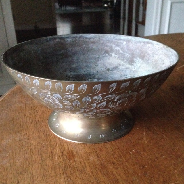 Vintage Etched Brass Bowl For Sale - Image 10 of 11