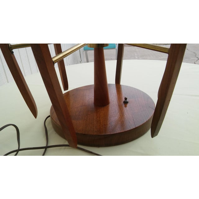 Mid-Century Modern Mid-Cenury Modern Eames Era Teak Wood/Brass Large Table Lamp For Sale - Image 3 of 5