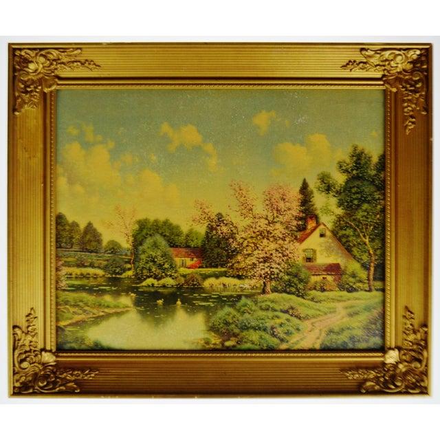Vintage Gilt Framed Landscape Print on Textured Board For Sale - Image 12 of 13