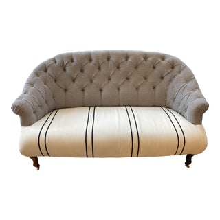 Bunakara Fingerprint Black and White Stripe Tufted Settee For Sale