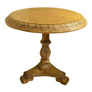 Traditional Round Wood Side Table For Sale