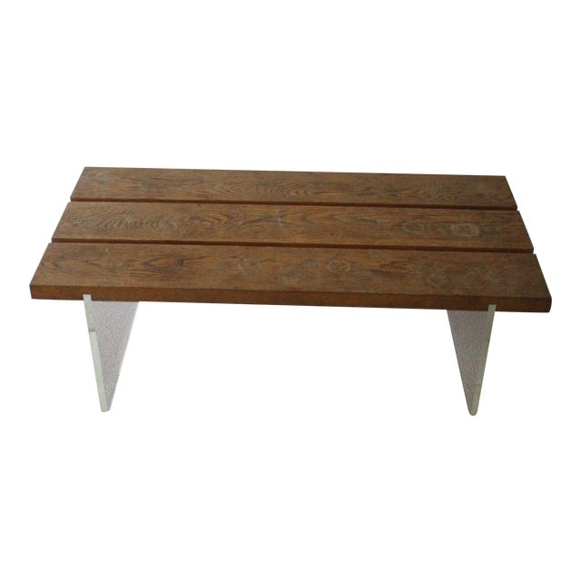 Mid-Century Wood & Acrylic Coffee Table For Sale