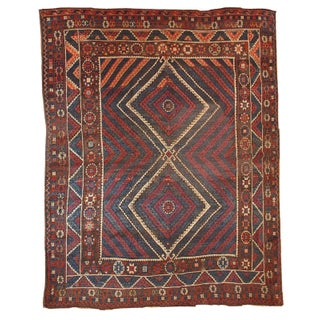 1880s Hand Made Antique Turkish Collectible Bergama Rug - 5.9' X 6.10' For Sale