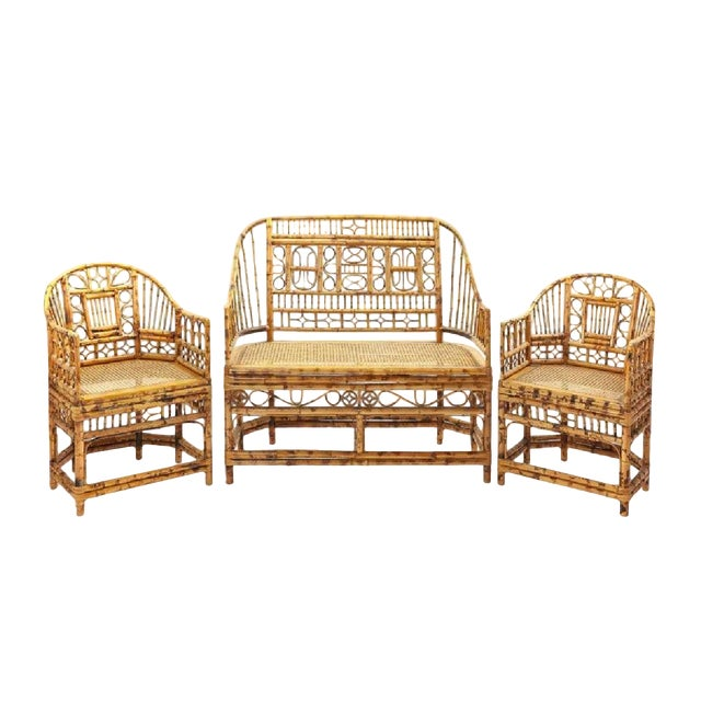 Boho Chic 1900s Bamboo Parlor Bench For Sale - Image 3 of 3