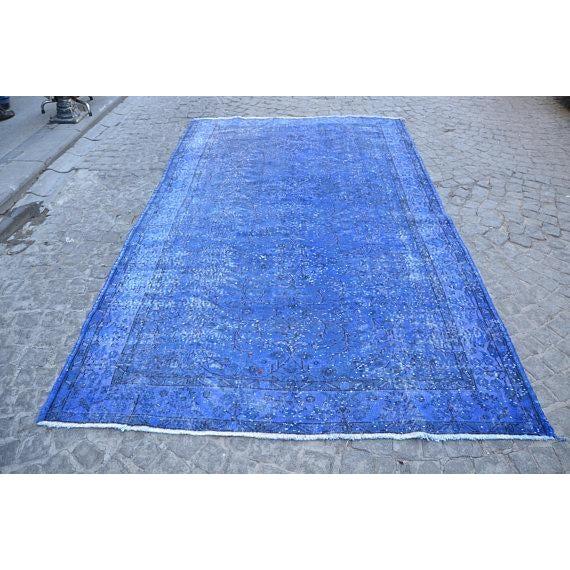 """Blue Overdyed Rug -- 5'10"""" x 9'4"""" - Image 2 of 6"""