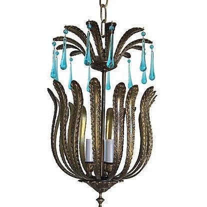 Mid-Century Brass Acanthus Lantern Chandelier - Image 1 of 6