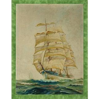 """""""Clipper Ship"""" Watercolor For Sale"""