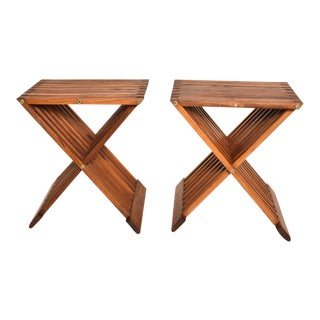Mid Century Modern Pair Teak Folding Side Tables For Sale