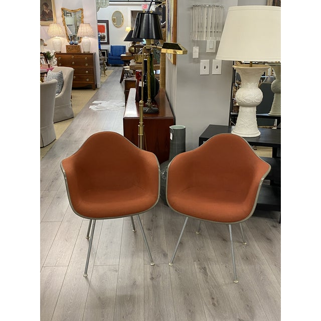 Vintage Herman Miller Chairs Upholstered Fiberglass Chairs Signed For Sale - Image 10 of 10