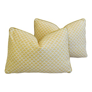 "Italian Mariano Fortuny Canestrelli Feather/Down Pillows 21"" X 15"" - Pair For Sale"