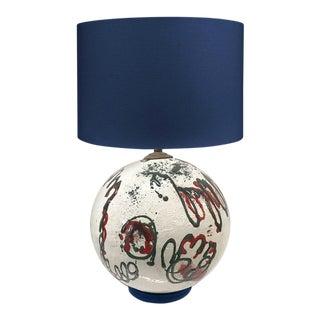 Mid 20th Century Italian Handmade Pottery Lamp For Sale