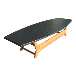 Mid Century Slate Top Coffee Table For Sale