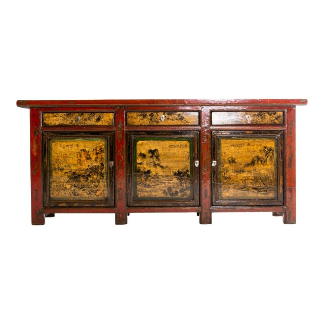 Chinese Sideboard With Three Drawers and Three Doors For Sale