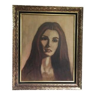 Mid-Century Modern Original Portrait Painting
