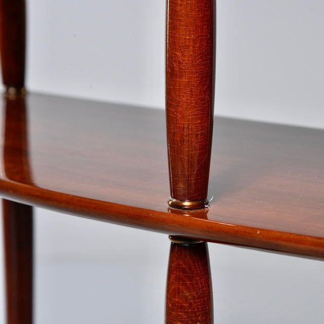 Mid Century Palisander Demilune Two Shelf Console Table For Sale - Image 9 of 11