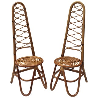 Pair of Italian Rattan Chairs in the Style of Gabriella Crespi For Sale