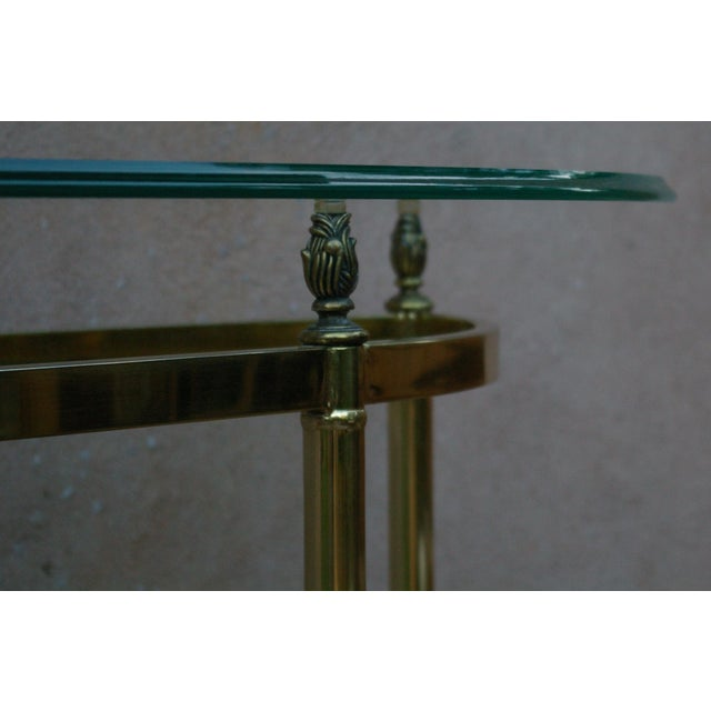 La Barge Style Vintage Brass and Glass Console For Sale - Image 5 of 7