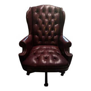 Plush Rolled Back Design Traditional Button Tufted Executive Office Chair With Nailhead Trim (Brown)