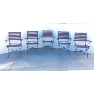 French Bistro Cafe Iron and Hardwood Slat Folding Arm Chairs-Set of 5 Preview