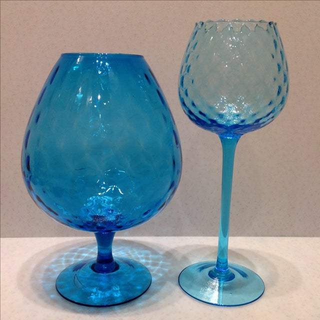 Blue Optic Glass Murano Vases - A Pair - Image 2 of 11