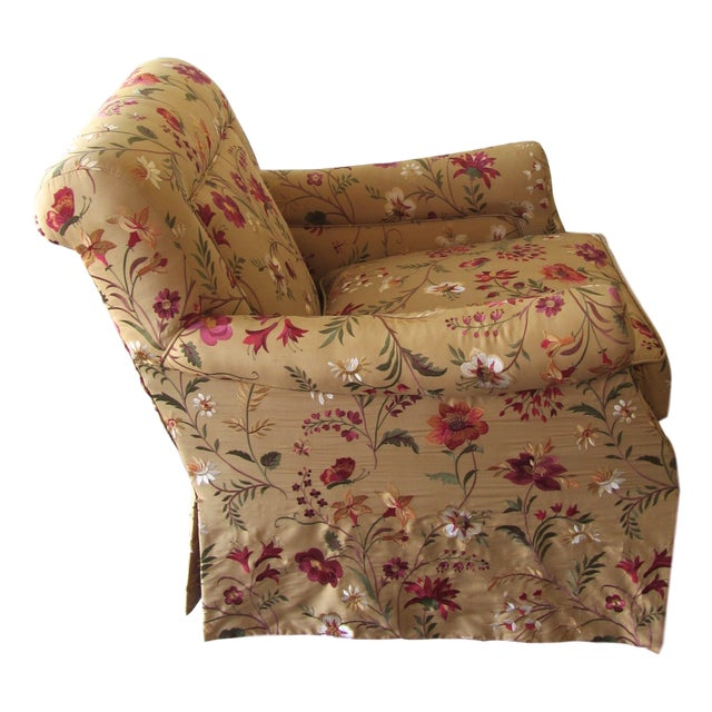 Silk Embroidered March Rocker Swivel Glider Chairs - a Pair - Image 6 of 8