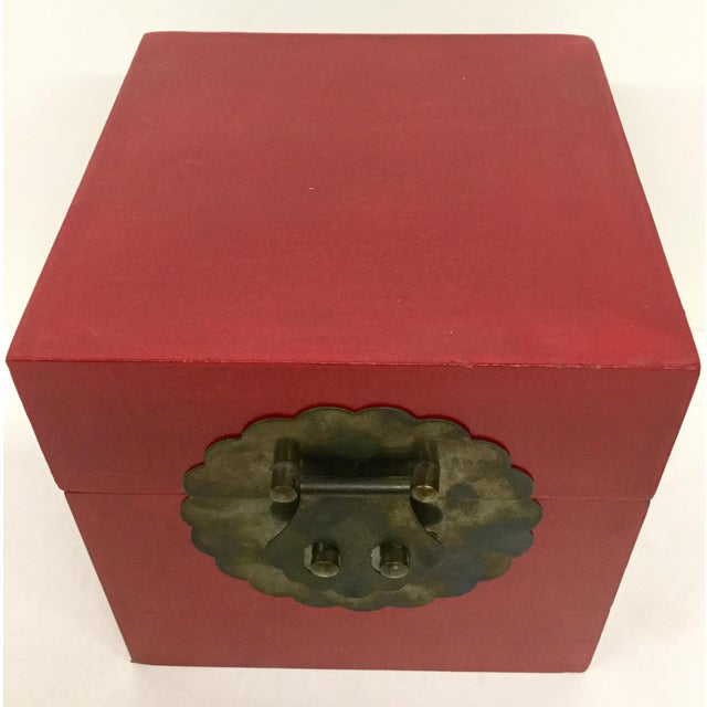 Gorgeous example of a hand painted Cranberry red wood box with Chinese details to keep your special keep sake inside. This...