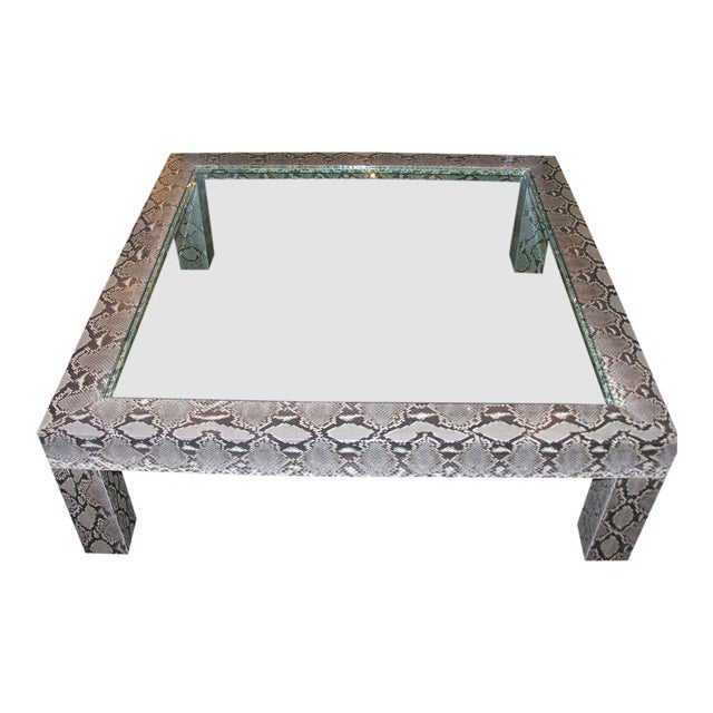 Python Cocktail Table with Inset Glass Top For Sale