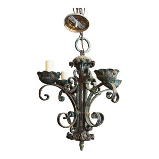 Italian Baroque Wrought Iron Chandelier For Sale