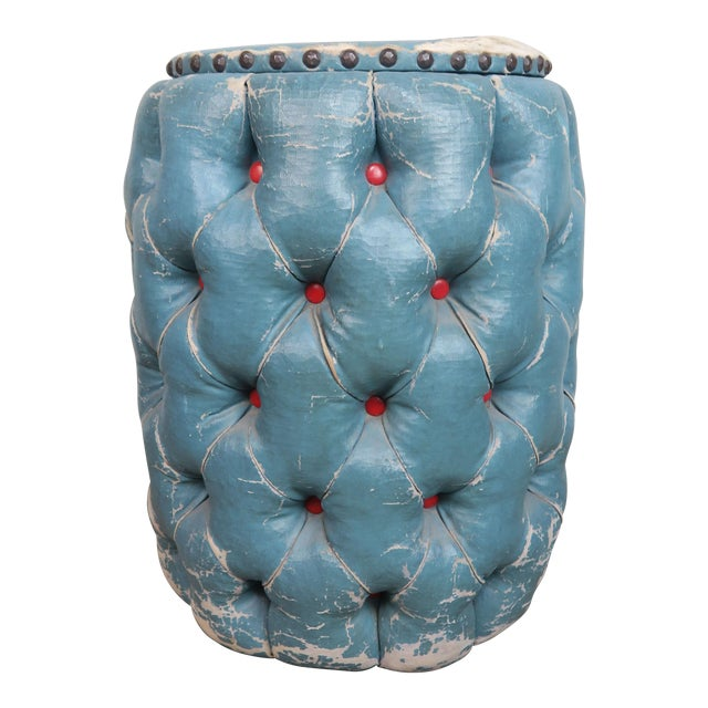 Blue Tufted Stool/Container W/ Red Tufts For Sale