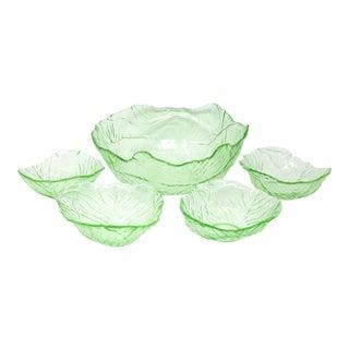 Vintage Cabbage Leaf Salad Serving Bowls by Viking Glass - Set of 5 For Sale