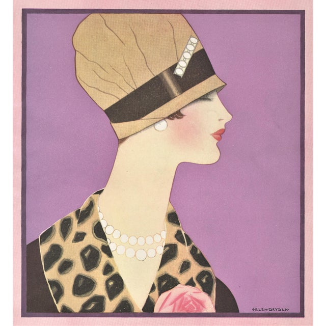 Matted 1920's Art Deco Fashion Print by Helen Dryden For Sale