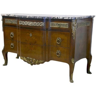 French Louis Xv Style Marble-top Bronze Mounted Commode, Late 19th Century