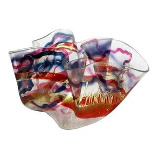 Contemporary Modern Memphis Laurel Fyfe Slumped Art Glass Bowl 1980s For Sale